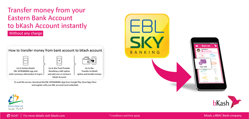 Transfer Money from EBL Account to bKash Account anytime